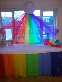 Mlp party - sonic rainboom decoration idea. Cut out cardboard rainbow dash to place at the start of the rainbow