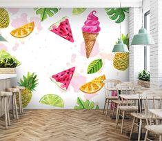 Wall Murals - Wallpaper - U. Accent Wallpaper, 3d Wallpaper, Juice Bar Interior, Juice Bar Design, Watermelon Ice Cream, Ice Cream Business, Paint For Kitchen Walls, Bakery Decor, Pineapple Wallpaper