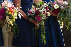 bridesmaids bouuets with native flowers