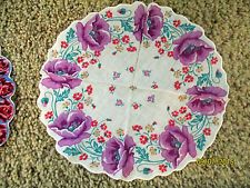 Vintage Round Floral Hanky Handkerchief Lavender Flowers on White Background