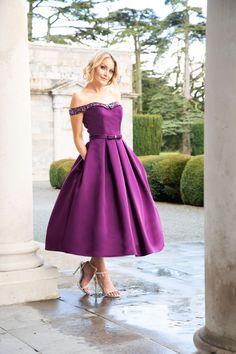 Satin Dress Colour Eggplant Use satin Colour card… Satin Dresses, Strapless Dress Formal, Gowns, Formal Dresses, Satin Color, Tea Length, Dress Collection, Bridesmaid Dresses, Female Clothing