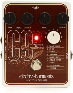 Organ/Electric Piano Emulation Guitar Effects Pedal with 9 Presets, Onboard Modulation Processing, and Optional Wet/Dry Output