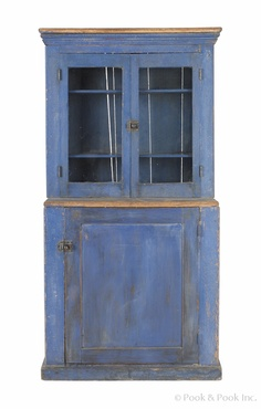 painted oak child's hutch, late 19th c., retaining its original blue surface