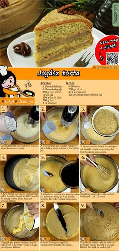 JOGÁSZ TORTA RECEPT VIDEÓVAL - Jogász torta készítése Ethnic Recipes, Food, Essen, Meals, Yemek, Eten