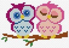 bead loom patterns for beginners Cross Stitch Owl, Small Cross Stitch, Cross Stitch Animals, Cross Stitching, Cross Stitch Embroidery, Hand Embroidery, Loom Patterns, Beading Patterns, Embroidery Patterns