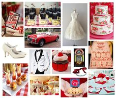 1950s theme wedding inspiration board