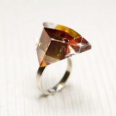 Glass sterling silver ring Prismes01 by belnavarro on Etsy, $89.00