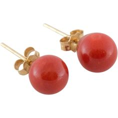 14K Gold Red Coral Stud Earrings found at www.rubylane.com @rubylanecom