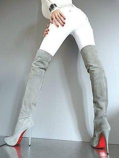 Suede thigh high #highheelbootsthigh #highheelbootslingerie #Kinkythighhighboots