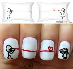 Valentine's Nails! Inspired by this cute pillow case from boldLoft! More here http://wp.me/p3LvmO-ib