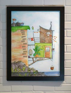 Original Watercolor Art 18x24 Whimsical Cottage on by LoganBerard on Etsy