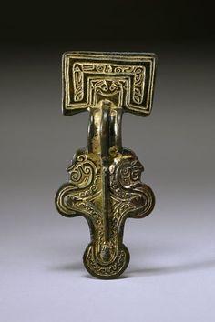 Late 6thC Anglo-Saxon square headed fibula. Unknown provenance.
