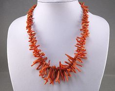 Old Natural Coral Necklace Mediterranean Coral Jewelry Branch Coral Beads Vintage Jewellery