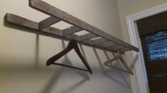 Small wooden ladder as a clothes hanger, great for small spaces and laundry rooms. by jelena.longin