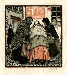 Emil Orlik: Klatschweiber (old gossips); color woodcut; 1896.