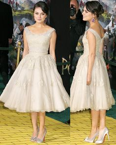 "Mila Kunis at Oz premier. LOVE everything about this! Dolce and Gabbana dress with Louboutin ""Angelique"" heels"