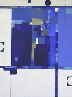 """Blue Banter I 40"""" x 30"""" work on canvas Deborah T. Colter - Mixed Media Paintings"""