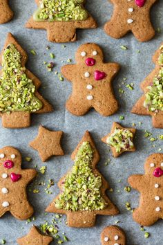 vegan gingerbread men and trees (pistachios, decorating idea)
