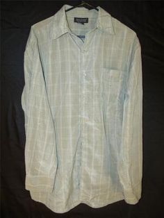 Mens Medium Dress Shirt Button Up Green Long Sleeve Striped Plaid Casual Stylish