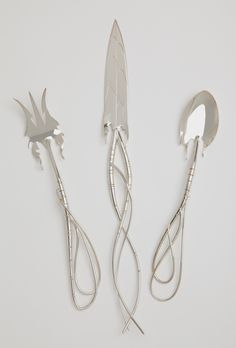 Dandelion Fork, Knife and Spoon fabricated from sheet and wire of Sterling Silver. Copyright Robyn Nichols.