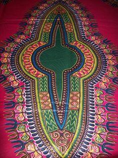 Fuchsia pink dashiki fabric per panel/ Dashiki by tambocollection