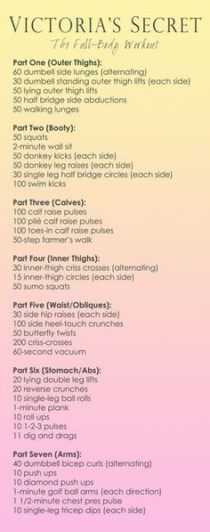 Victoria Secret Model Full-Body Workout/ gunna try this out for one month to get me where I wanna be! Victoria Secret Model Full-Body Workout/ gunna try this out for one month to get me where I wanna be! Full Body Workouts, At Home Workouts, Workout Routines, Fitness Exercises, Fat Workout, Workout Exercises, Workout Tips, Fitness Model Workout, Cardio Workouts