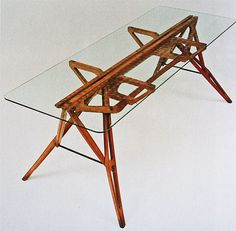 1949 oak and glass table by Italian designer Carlo Mollino. Sold for 3.8 million at Christie's auction house in New York.