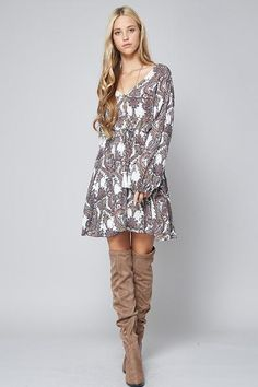 Long Sleeve Printed Dress with Ribbon Detail