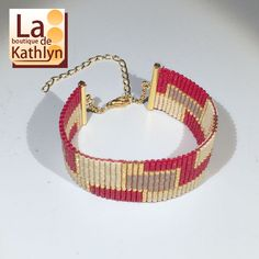 Beaded Bracelets, Etsy, Jewelry, Bijoux, Glass, Red, Pearl Embroidery, Weaving, Handmade Gifts