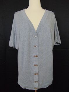 Romeo & Juliet Couture Cardigan Short Sleeve Grey Button Down Medium #1024 #RomeoJulietCouture #Cardigan