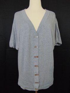 Romeo & Juliet Couture Cardigan Short Sleeve Grey Button Down Medium #1024 #RomeoJulietCouture #Cardigan