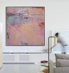 Large Abstract Art Handmade Oil Painting On Canvas, Contemporary Art, Original Abstract Painting Canvas Art. Abstract Canvas Art, Oil Painting On Canvas, Painting Abstract, Pink Abstract, Large Painting, Art Original, Original Paintings, Grand Art, Large Art