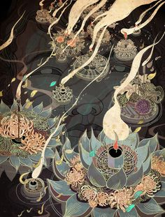 Victo Ngai, illustration for the Ink Reader, published in Tor, short fiction imprint of Tor Books