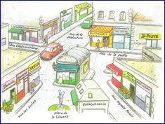 Teaching prepositions with a map of a French city - M5 - unité au sujet de faire les courses?