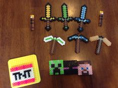 Minecraft party favors.  Perler beads Necklace making items-  cord, crimps, fasteners.  Keychains $2.99 per dozen at michaels  I made swords, axes, pickaxes, mob faces, etc.   Then I made them into necklaces and keychains.  The necklaces were a bigger hit for all the kids ages 7- 11