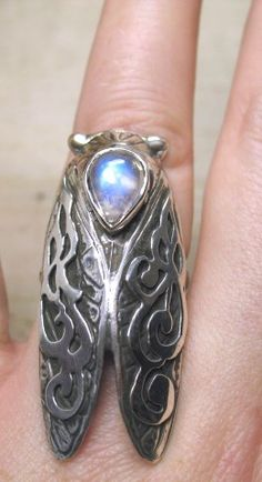 Jewelry Pagan Wicca Witch:  Smoke Wing Cicada #Ring with Rainbow Moonstone.