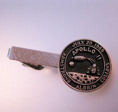 $24.99 APOLLO 11 Tie Clip Bar July 20, 1969 Nasa Space Astronaut Amstrong Aldrin Collins Silver Tone Vintage Men's Jewelry Jewellery by BrightEyesTreasures on Etsy