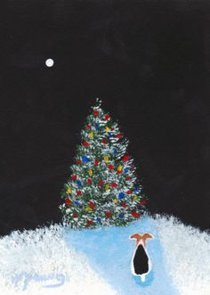 O Christmas Tree Wire Fox Terrier dog Folk Art by ToddYoungArt, $13.50