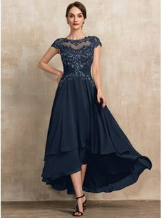 A-Line Square Neckline Asymmetrical Chiffon Mother of the Bride Dress With Appliques Lace Sequins (008235589) - JJ's House Mother Of The Bride Dresses Long, Mother Of Bride Outfits, Mothers Dresses, Grooms Mother Dresses, Mother Bride, Bride Groom Dress, Bride Gowns, Dress With Bow, The Dress