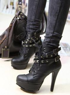 Punk High heels Ankle Boots boots Studded Platform, Shoes, High heels Ankle Boots, Eco Friendly