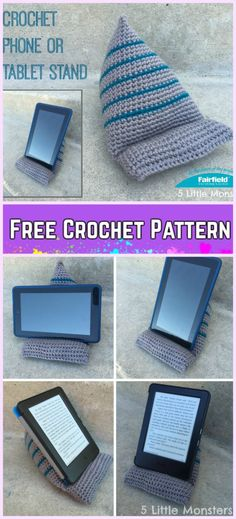 Crochet Phone Cover Crocheted Phone or Tablet Stand Free Pattern - Crochet Tablet Stand Holder Free Patterns, tablet wedge crochet, phone stand, phone holder, ipad holder Crochet Home, Crochet Gifts, Diy Crochet, Ipad Holder, Phone Holder, Tablet Stand, Phone Stand, Crochet Phone Cover, Crochet Mobile