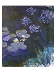 Water Lilies and Agapanthus Giclee Print by Claude Monet at Art.com
