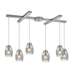"Elk Lighting 46161/6 Carved Glass 6 Light 33"" Wide Multi Light Pendant with H-Ba"