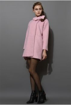 Wool-Felt Tweed Coat with Bowknot in Pink - Tops - Retro, Indie and Unique Fashion