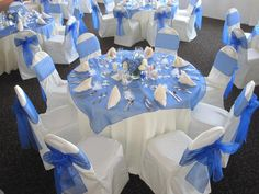 White and Royal blue wedding reception Create with www.cvlinens.com image and design : http://www.hwtm.com/index.cfm?page=albums/view_album&albumid=1898&categoryid=105
