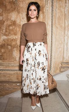 If you're on the shorter side, show a bit of ankle to keep the long skirt from looking too overwhelming à la Miroslava Duma.