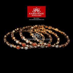 Buy Bangles Online | Navaratna Swarovski Closed Setting Bangles from Kameswari Jewellers
