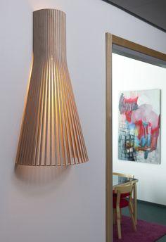 L'applique 4230 secto design 4230 luminaire lighting design signed by Seppo Koho Luminaire Design, Modern Lanterns, Berlin Design, Wood Waste, Wooden Lampshade, White Laminate, Wall Lights, Ceiling Lights, Scandinavian