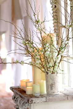 Winter decor with candles and weathered wood from Cedarwood