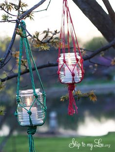To make these hanging macrame candle holders, use neon cord to weave a macrame candle holder, the perfect fit for a Mason jar, that can light up your backyard into the night.